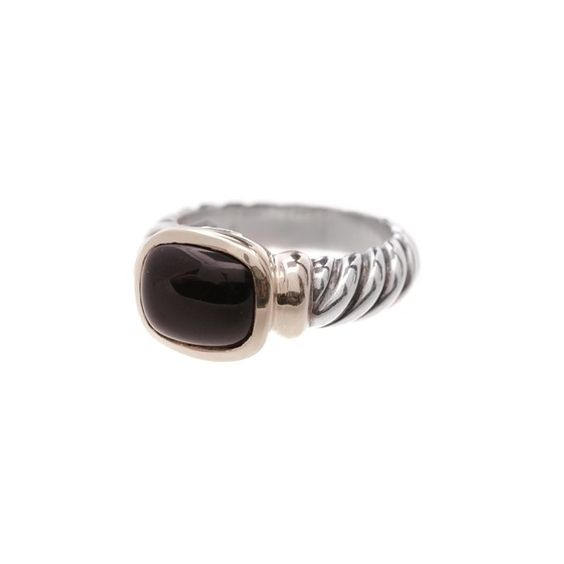 Pre-Owned David Yurman Sterling Silver & 14K Gold Black Onyx Noblesse... ($200) ❤ liked on Polyvore featuring jewelry, rings, black and gold ring, sterling silver twist ring, gold rings, black onyx ring and 14 karat gold ring