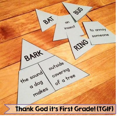 Multiple meanings match up! Easy literacy center that gets primary students to match words with their multiple meanings