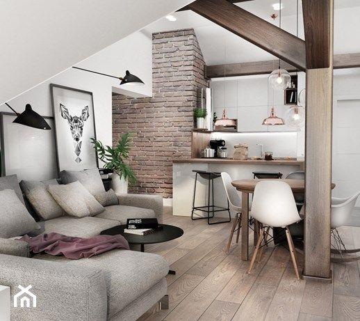 Aranzacje Wnetrz Salon Mieszkanie Na Poddaszu Maly Salon Z Bibiloteczka Z Kuchnia Z J Small House Interior Design Filipino Interior Design Interior Design