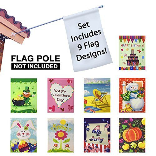 Easygoproducts Egp Gard 015 Seasonal Holiday Garden Set Of 9 30 X 43 Flags Holiday Flag Easter Kids Flag