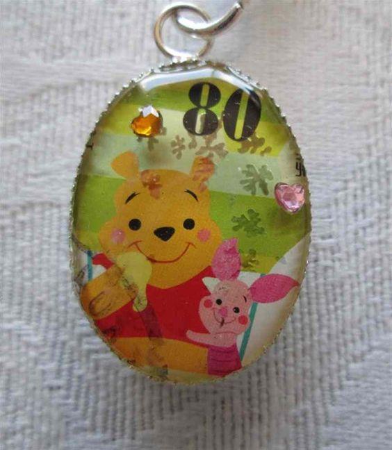 Japanese Postage Stamp Winnie The Pooh & Piglet Pendant