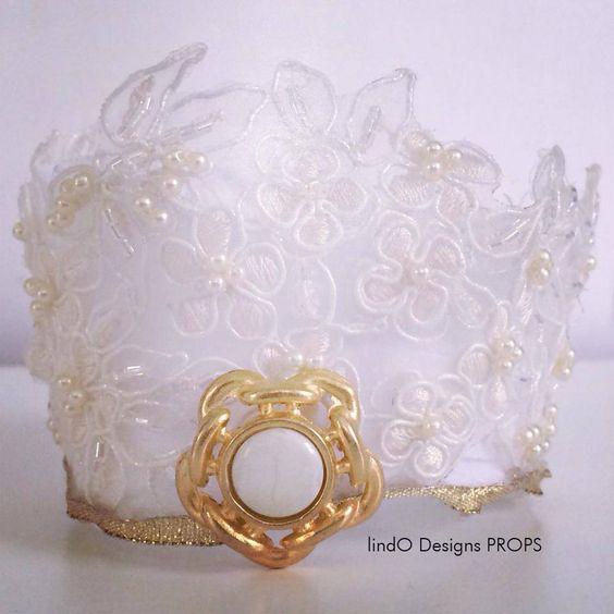 vintage lace & vintage button newborn crown — lindO Designs PROPS