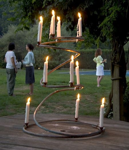 beautiful DIY copper candelabra, everything you need can be found at hardware store