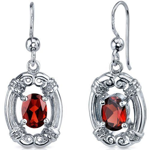 Antique Style 2.00 Carats Garnet Oval Cut Dangle Cubic Zirconia Earrings in Sterling Silver Rhodium Finish