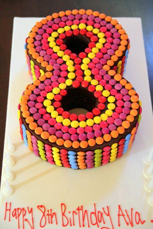Number 8 smarties birthday cake Birthday parties ...