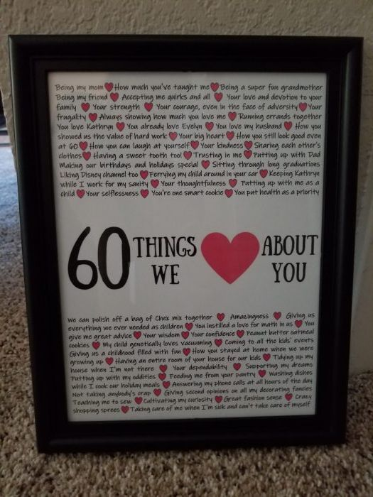 60 Things We Love About You 60th Birthday Gift For Grandmother Birthday Presents For Mom Mom 60th Birthday Gift 60th Birthday Ideas For Dad