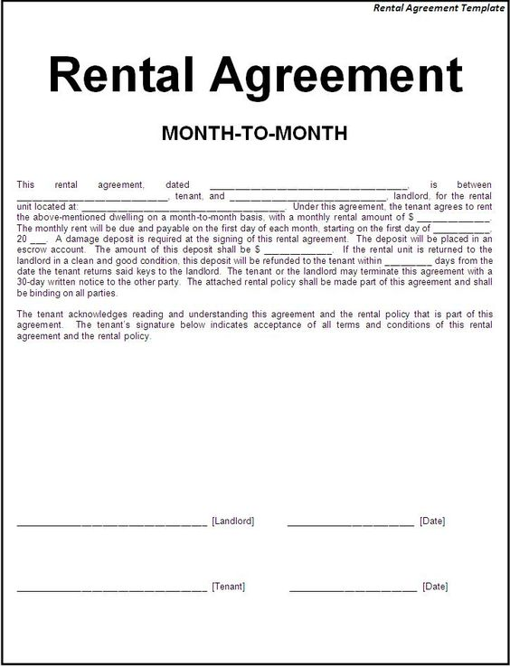Printable sample simple room rental agreement form real for 12 month tenancy agreement template