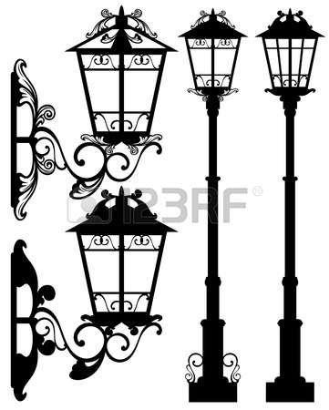 Lamparas De Color De Dibujos Detallados De Calles Aisladas En Estilo Plano Sobre Fondo Blanco Luces De La Calle Candelabros De Pared Dibujos De Faroles