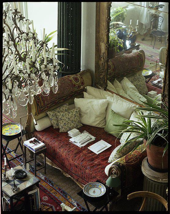 paris apartment of loulou de la falaise boho gypsy