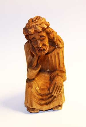 BalticShop.com - $22.00 - Hand carved Lithuanian Rupintojelis (The worrying Christ). Natural wood Height 4 inches (10 cm) Kaunas, Lithuania