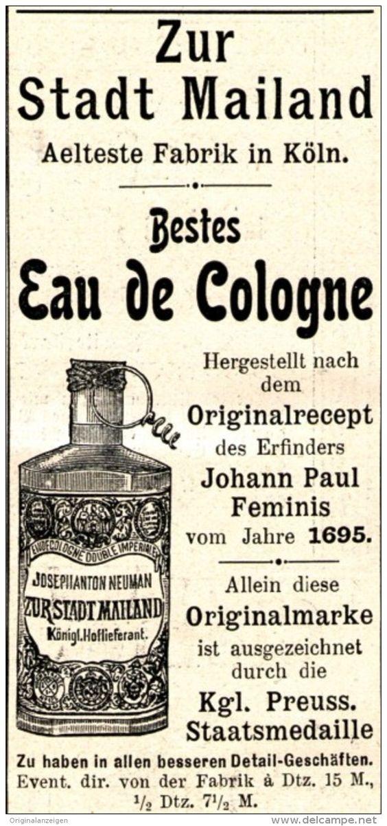 Original-Werbung/ Anzeige 1898 - ZUR STADT MAILAND / EAU DE COLGNE - KÖLN - ca…