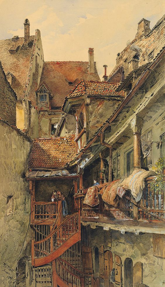 Picturesque backyard in sunny light, 1907, Friedrich Trost the Elder. Germany (1844 - 1922)  - Watercolor, Pen and Ink -