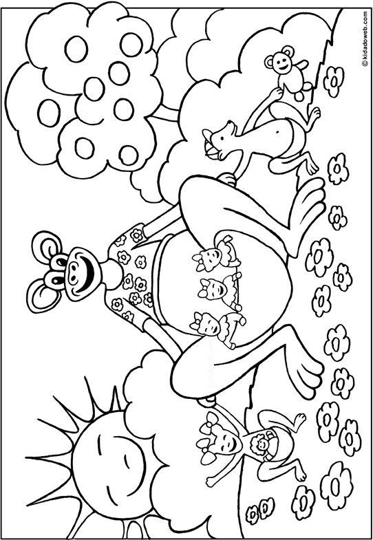 Kleurplaat kangaroe coloriage animaux kangourou thema - Kangourou coloriage ...