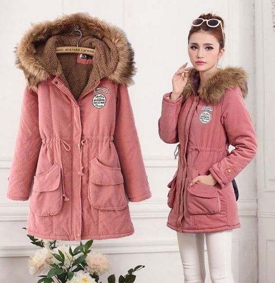 Peach Sweater Jackets with Fur Hood Peach Winter Coats | Coats and