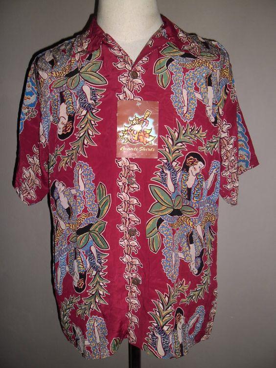 Fantastische Avanti Hawaiian rote Burgunder Seide von VINTAGESDUKE