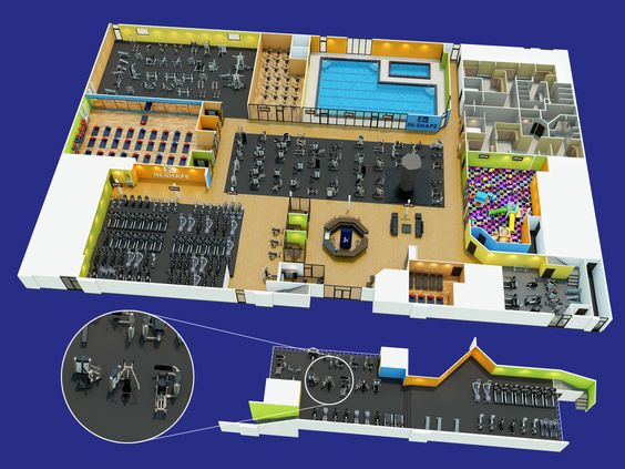 3d design of a larger gym 3d gym desings and gym plans for Gym floor design