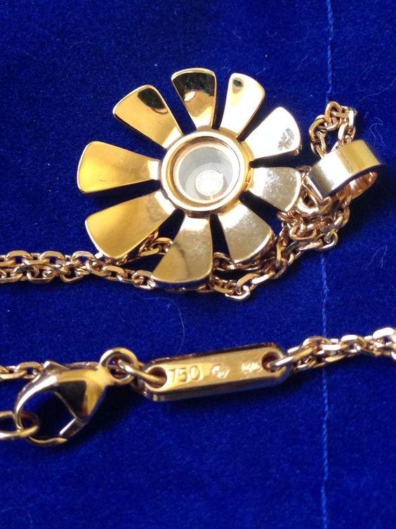 Chopard - Chopard Rose Gold Happy Diamond Flower Necklace NWOT CLICK HERE to see more - http://www.diamondsandgemstones.net/chopard/