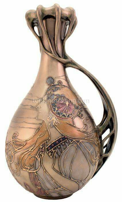 Hand blown vase designed by Alphonse Mucha