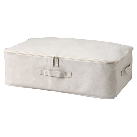 HIgh quality Cotton Linen Underbed Drawers from Muji. They do things so well! Don't forget to include your natural moth sachets to keep those munchers away!