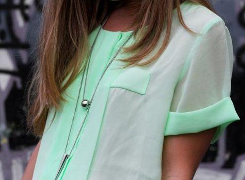 Mint chiffon shirt