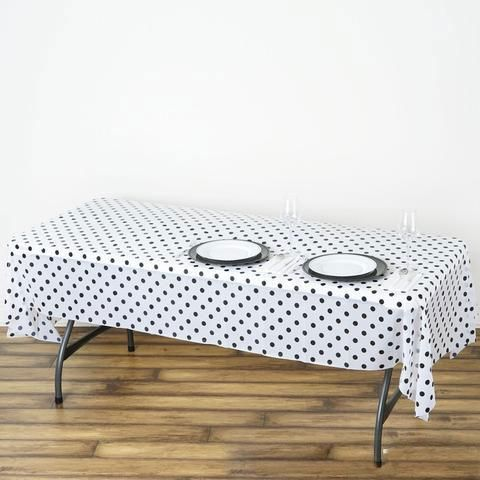 54 X 108 White Black Disposable Polka Dots Plastic Vinyl Rectangular Tablecloth In 2020 Plastic Table Covers Plastic Tables Table Covers