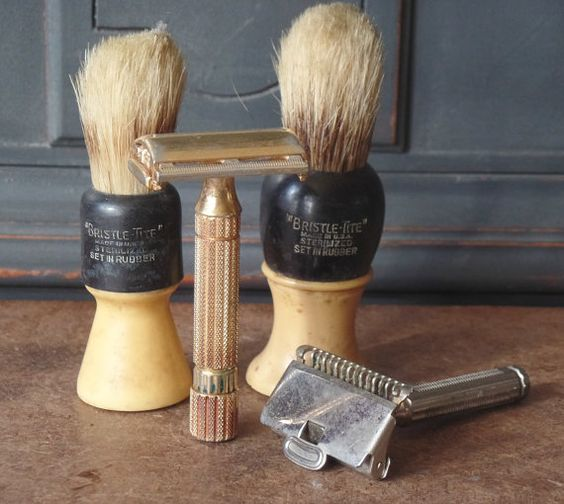 Vintage Shaving Brushes & Razors, Bristle Lite Brushes, 2 Metal Safety Razors, Mens Gifts, Mantiques, Collectibles  Collection of 2 Shaving