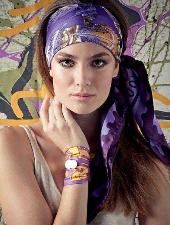 Purple full headband side tie headscarf