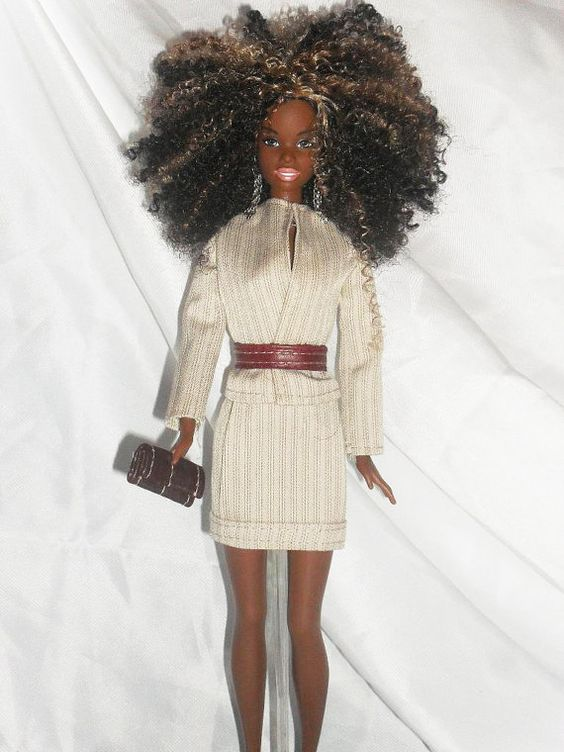 Barbie Doll Clothes  Beige Pinstriped Skirt by NiteBabyDollWorld, $12.00