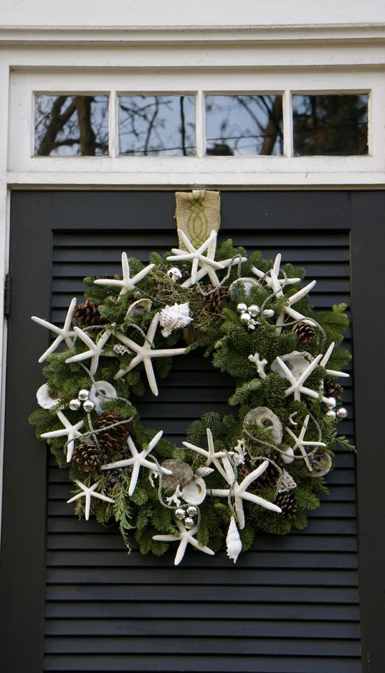 Seaside Wreath coastal Christmas decor starfish