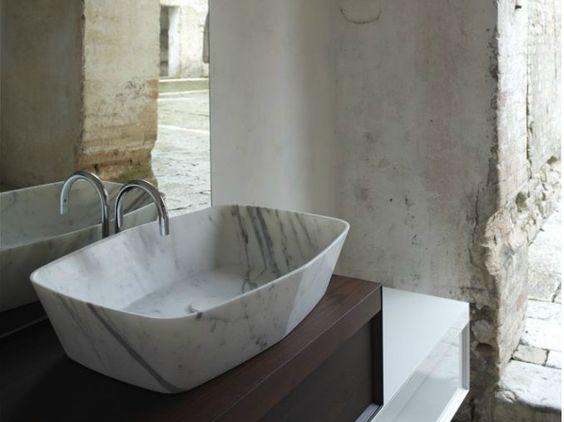 Lavabo sobre encimera de mármol de Carrara Colección Class by Arlex