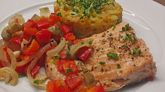 Chefkoch.de Rezept: Gebratenes Zanderfilet auf Fenchel - Paprika - Gemüse