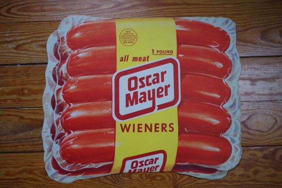 Vintage Advertising poster die cut Oscar Mayer Wiener Package of hot dogs by retrowarehouse