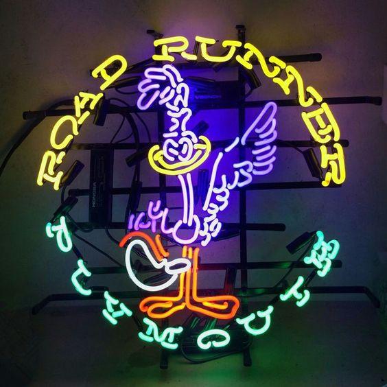 "Plymouth Road Runner 19/"" Blue Neon Clock Man Cave Garage Shop Classic Car"