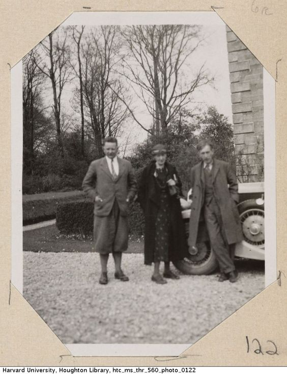 Alexander Cameron, Virginia Woolf, and Leonard Woolf stand outside Bowen's home. Bowen's Court (Cork, Ireland), 1934