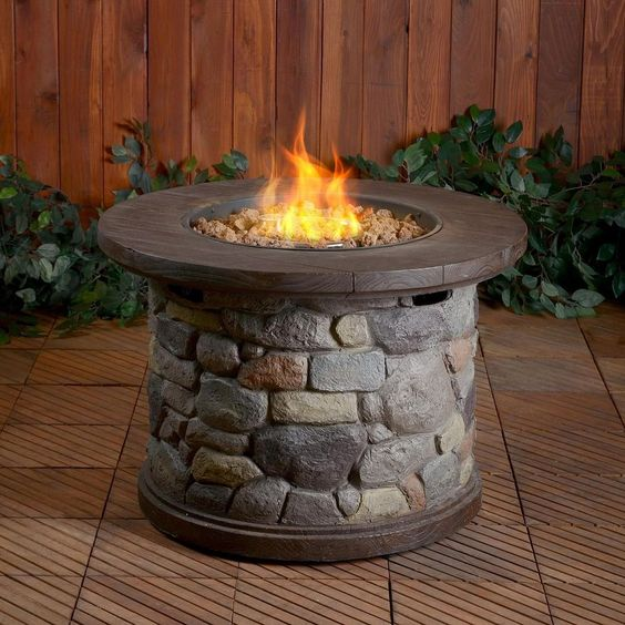 Outdoor Elegant Fire Pit Round LP Gas Fireplace Slate Patio Firepits Fire  Pits