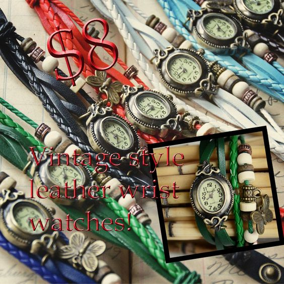 NEW Vintage Style Leather Wrist Watches Only $8! Today through Friday only! Use the code: Watch8 at checkout. Regular Price:$19.99   *Limit 5 per watches per online order, offer expires Friday 11/29/13. Cannot be combined with other offers, discounts, or applied toward past orders. Shipping and handling not included.