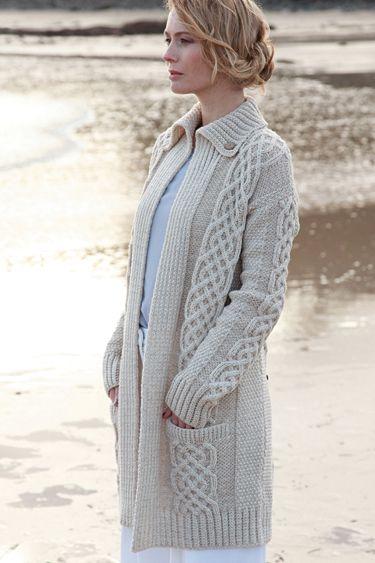 Carraig Donn Irish Merino Wool Aran Sweater Womens Ladies Cable ...