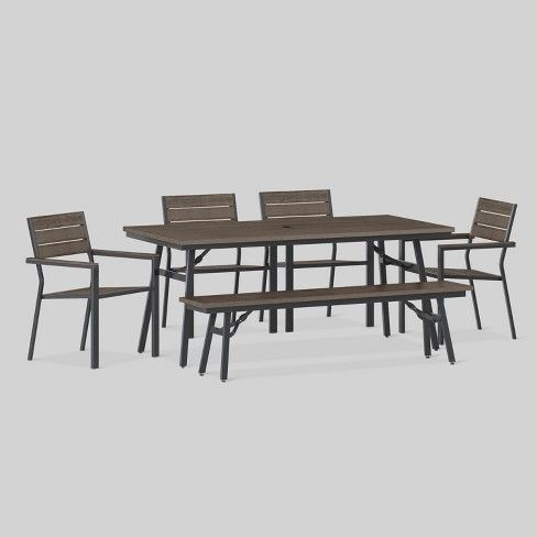 Mantega 6pc Rectangle Metal Patio Dining Set Black Brown