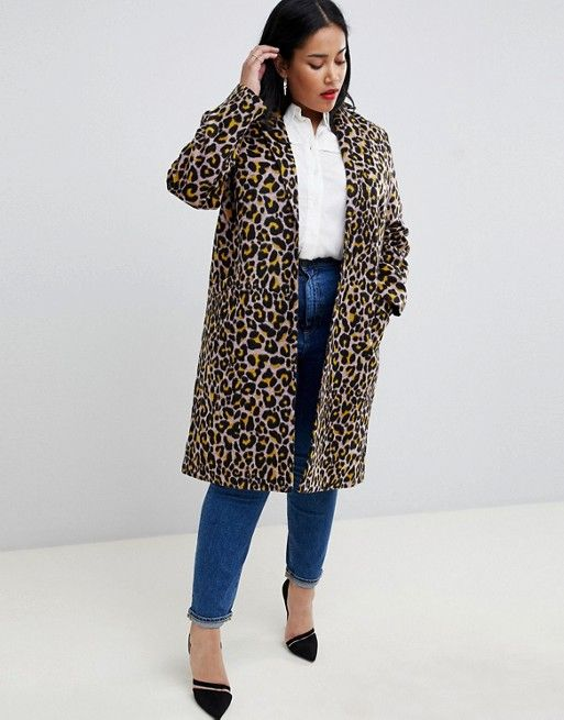 ASOS Curve | ASOS DESIGN Curve coat in leopard