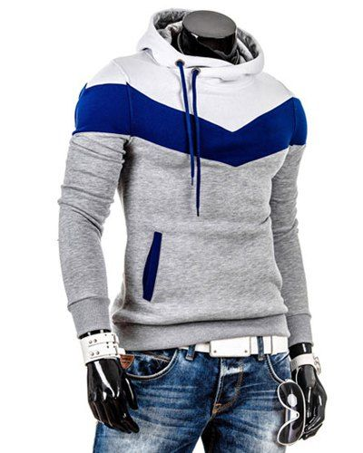 Slimming Trendy Hooded Personality Color Splicing Long Sleeves ...