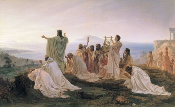 Pythagoreans' Hymn to the Rising Sun, by Fedor Andreevich Bronnikov, 1869