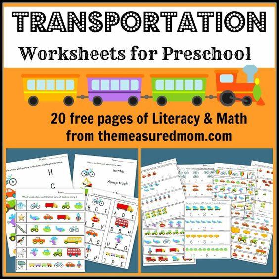 Free transportation-themed worksheets for preschool | The Measured Mom