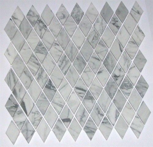Italian White Carrara Marble Polished Diamond Shape Mosaic Kitchen Ideas Pinterest Shape