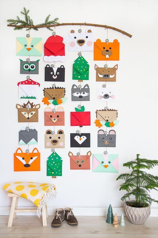 Tierischer Adventskalender aus Briefumschlägen für Kinder