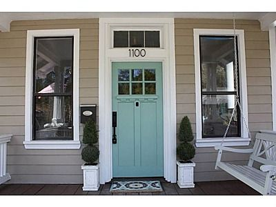 Aqua front door color with tan siding just about perfect - What color door goes with gray house ...