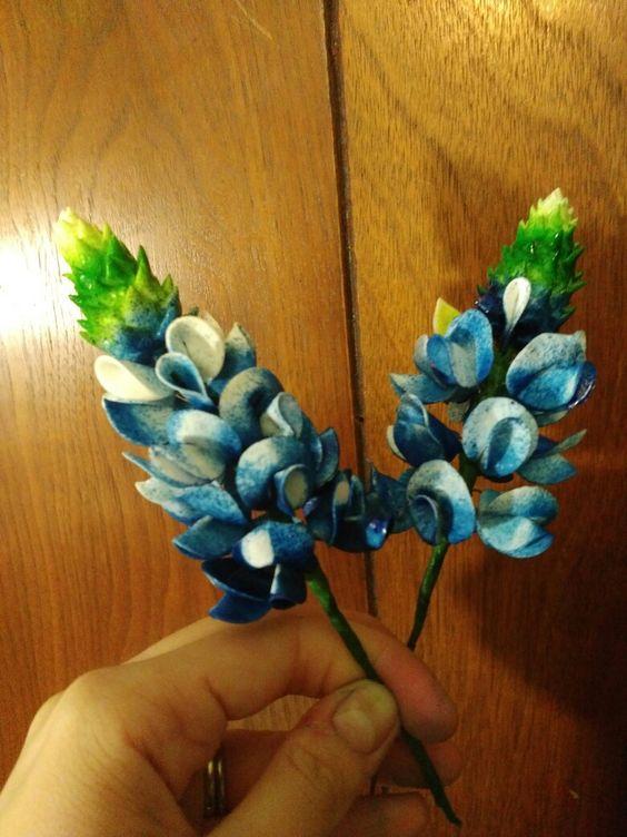 Edible handmade gumpaste bluebonnet flowers