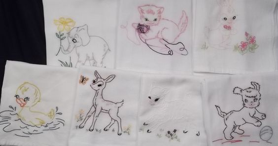 100% cotton hand embroidered baby animal towel set of 7