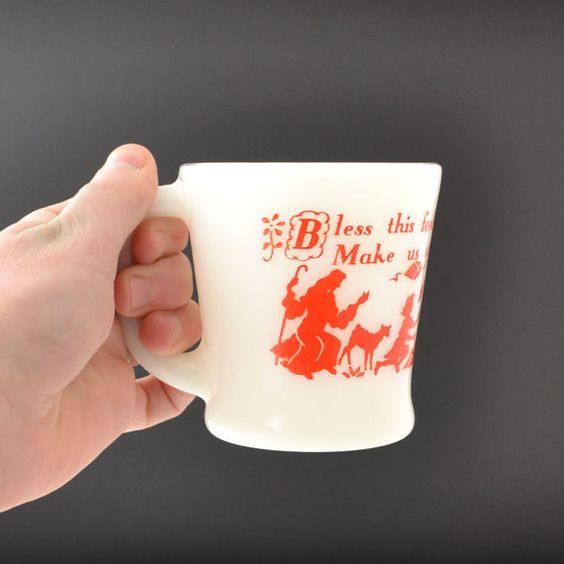 Milk Glass Coffee Mug - Fire King Mug - D Handle - Bless This Food Prayer - Red Font Graphics