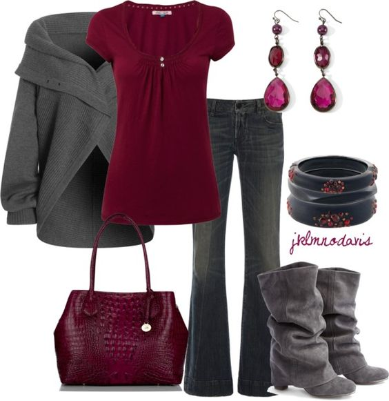 """""""Gray & Berry"""" by jklmnodavis on Polyvore  I would just change the boots to something more sleek."""