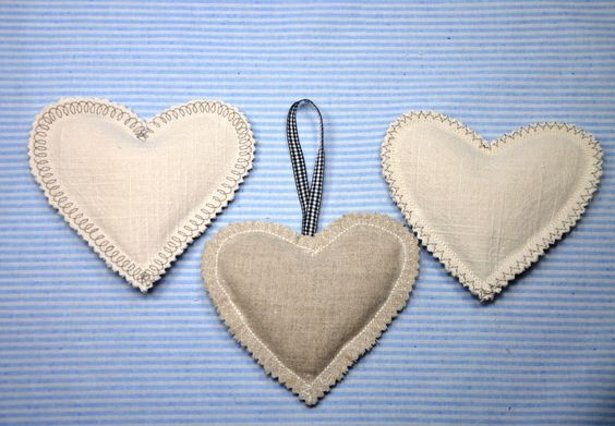 Lavender Scented Heart Shaped Sachets and Pocket Warmers by RainieGarden on Etsy